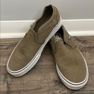 Green Colored Slip-on Vans